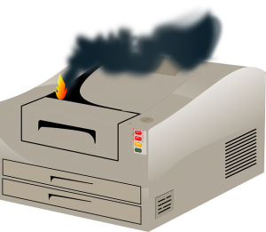 printer on fire image to depict serious error