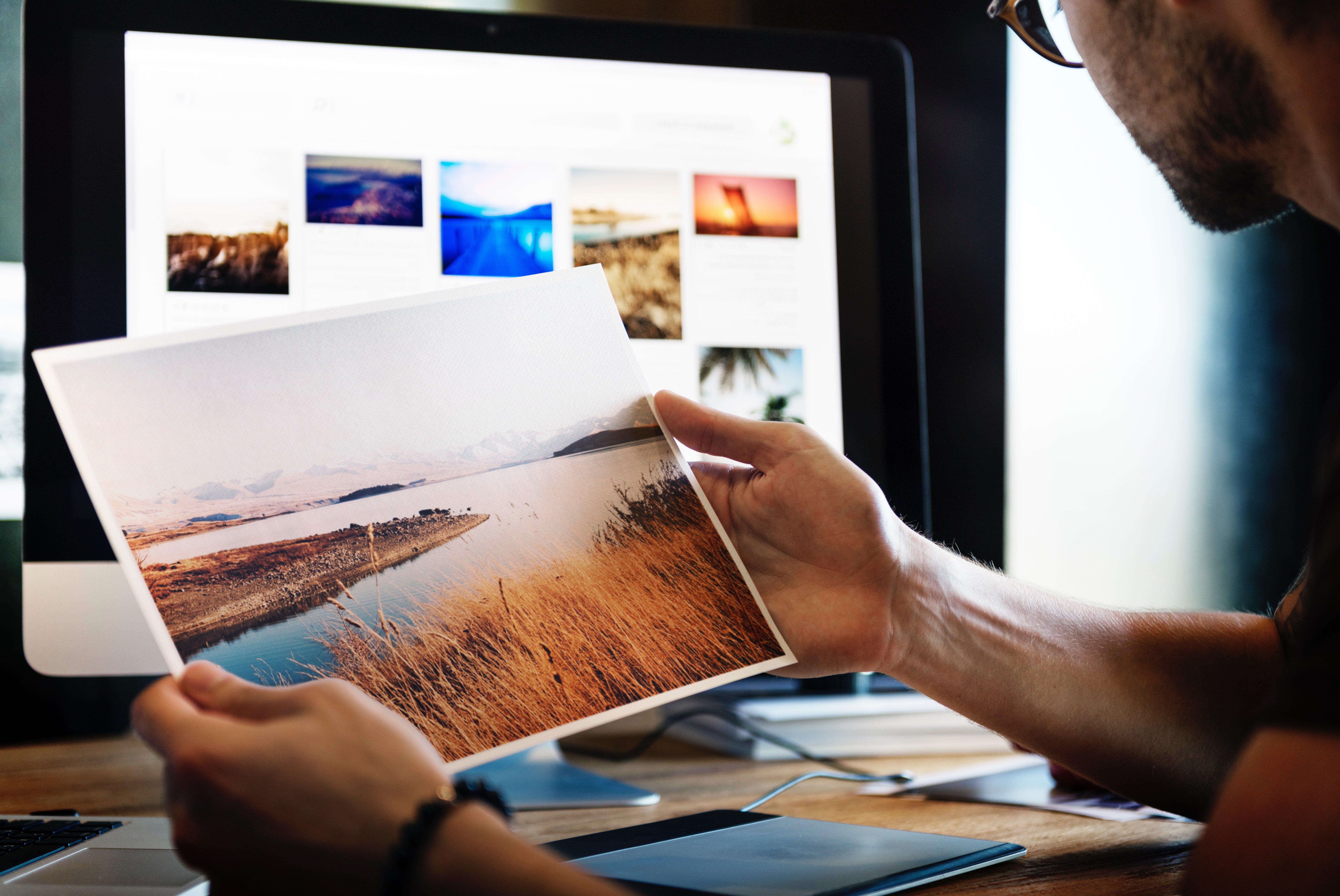 photographer checking photos